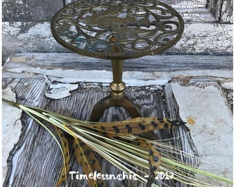 Small Vintage Brass Plant Stand - Plant Stand - Brass Plant Stand - Vintage Brass Squirrel -Fireplace Kettle Trivet - Tripod Table -