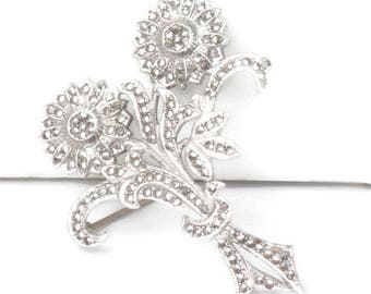 Marcasite Sterling Flower Brooch Double Blossoms Vintage