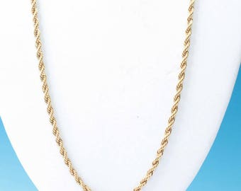 Napier Rope Twist Necklace Gold Tone 24 Inch Vintage