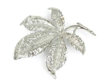 Coro Leaf Brooch Silver Tone Dimensional Vintage