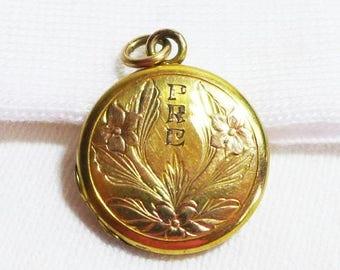 Sale 15% Estate Locket 12K GF Floral Flower Gold Photo PRE Initials
