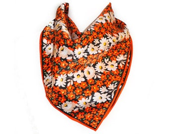 1970s Mod Orange and White  Flower Power Square Vintage Polyester Scarf