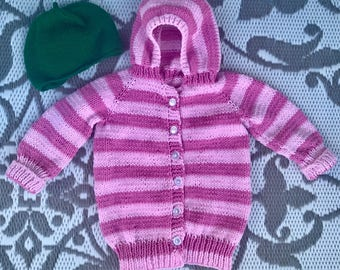 Sarah and Duck striped hoodie and hat Made to Order 0-24 months