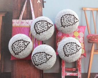 Dark Brown Forest Woods Hedgehog Animal On Gray-Handmade Fabric Covered Buttons(0.87 Inches, 5PCS)