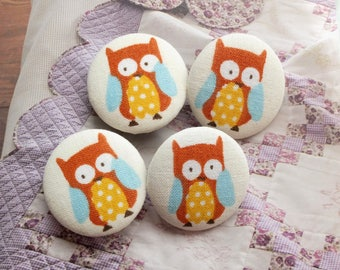 Lovely Spring Forest Woods Big Eye Blue Orange Yellow Baby Hoot Owls - Handmade Fabric Covered Buttons(1.1 Inches, 4PCS)
