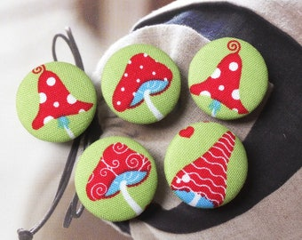 Storybook Fairy Tale Wonderland Forest Woods Red Striped Wave Polka Dots Mushroom On Green-Handmade Fabric Covered Buttons(0.98 Inches,5PCS)