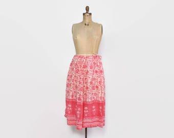 Vintage 70s Gauze Skirt / 1970s Bright Pink Indian Cotton Adini Midi Skirt
