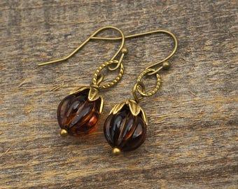Brass topaz crystal earrings, vintage Austrian beads, French hooks