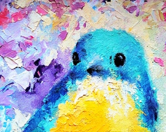 Printed Notecard Blue Bird PRINT of Original Oil Painting Cute Bird 4x6""