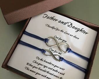 Father daughter gift,Infinity bracelets,Father's day gift,Gift for Dad,Daddy and me,Gifts and mementos,Bracelets,Jewelry,Wish bracelet,gift