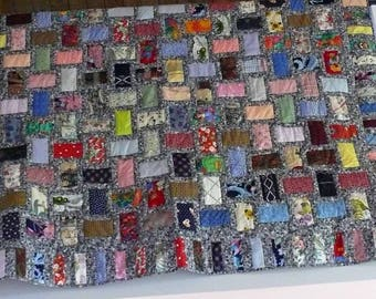 Nickle Bricks Scrap Pieced Lap Throw Quilt