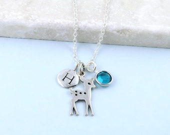 Silver Deer Necklace, birthstone & initial charm necklace, fawn necklace sterling silver