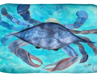 Blue crab coastal design kitchen or bathmat from my art