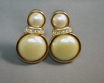 Vintage S.A.L. Swarovski Faux Pearl Clip Earrings