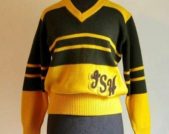 Vintage 50's to 60's V-Neck Varisty Cheerlead Uniform Sweater in Bumblebee Colors with Initials Patch by Logan Knitting Mills