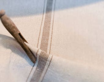 Reproduction Grain Sack Fabric Sold By The Yard. Thick Tan Stripe on Cream.