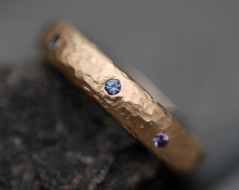 Yogo Gulch Sapphires in Recycled Gold Ring- Custom Made Band