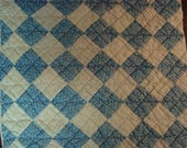 Antique 1930s PA Blue and White One Patch Quilt Block ~ Use for Fabric Art or Prim Crafts
