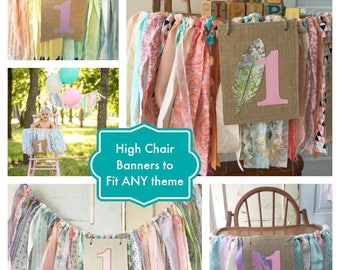 Girls High Chair Banner. Custom Made Girls First Birthday High Chair Decoration, Smash Cake Birthday Party photo Props YOU Choose Colors