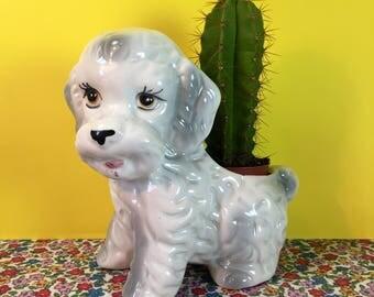Vintage Planter - Vintage Dog Planter - Ceramic Planter - Dog Lover - Vintage Homeware - Plant Pot - Vintage Plant Holder - Cute