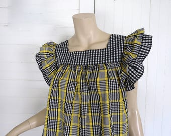 70s Pinafore Top or Mini Dress- 1970s Plaid Hippie Festival Tunic Blouse- Black, White, & Yellow Cotton Smock Top