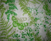 Vintage VERA Neumann Flat Sheet FULL Size Green Fern Butterflies Burlington Percale Fabric