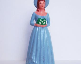 "Lady in Blue Cake Topper 4 1/2"" tall New Old Stock"