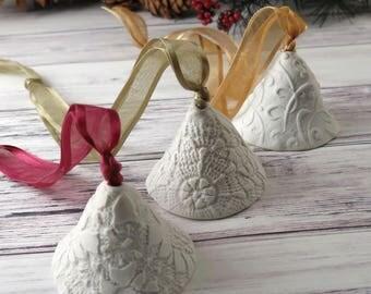 Bells, Ceramic Bell, Porcelain Christmas Ornament, Holiday Decor, Home Decor, Handmade Tree Ornament, 549