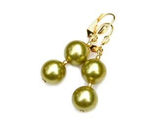 Pearl Gold Earrings Light Olive Green Swarovski Double Pearls Summer Dangles Elegance Couture High Fashion Art Deco by Mei Faith