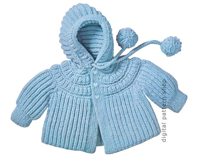 Baby Knitting Pattern Hooded Sweater Jacket Instant Download 6 Mths 1, 2 Yrs