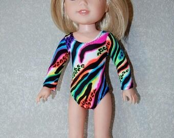 Spring Sale Gymnastics Leotard Doll Clothes Colorful Zebra print  handmade for 14.5 inch Wellie Wishers tkct1142 READY TO SHIP