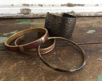 Vintage Lot 4 Brass and Copper Bangle Cuff Bracelets Boho