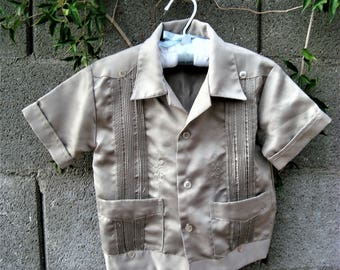 Baby Boy Vintage El Norteno Western Wear Slate Gray Embroidered Wedding Shirt Size XS