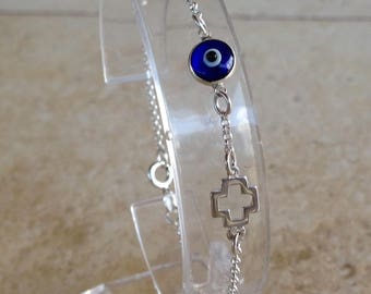 Evil eye cross bracelet - dark blue - sterling silver - protection -  good luck - gift for her - evil eye - celebrity - Greek jewelry