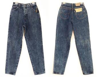 Deadstock Levis 902 90s Stone Wash Dark Blue Jeans 900 Series 1990s Mom Jeans High Waisted Denim Hi Rise Pants Acid Size 13 Large 28 29 30