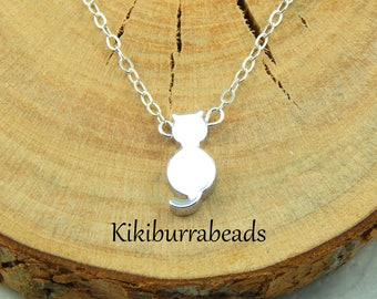 Pussy Cat Necklace,Cat Necklace,Silver Cat Charm Necklace,Cat Lover Necklace,Feline Jewelry,Gift For Cat Lover,Cat Jewelry