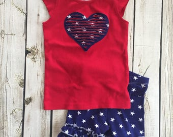 Girls 4th of July outfit, ruffle shorts, red white and blue outfit, patriotic short and shirt set, independence day outfit, by Melon Monkeys