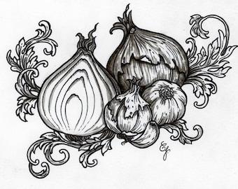 Garlics and Onions - Original ink drawing
