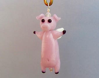When Pigs Fly Ornament or Pendant - Lampwork Glass Bead Creation - SRA