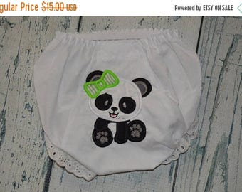 ON SALE Personalized Panda Baby Bloomer Girls Diaper Cover Monogrammed Bloomers