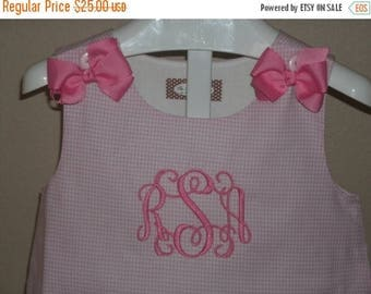 ON SALE Monogrammed Girls Gingham Aline Dress, Monogram A-Line Jumper Dress, Girls Boutique Dress with Bows