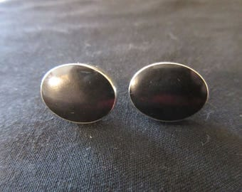 Vintage Sterling Silver Black Onyx Studd Earrings - MOURNING JEWELRY