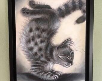 Gray Tabby Cat Portrait Yoga Decor OM Original Acrylic Stretched Canvas Painting 13x17