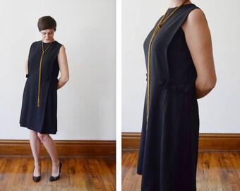 1960s Black Crepe Cocktail Dress - M