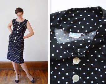 1950s Black and White Polka Dot Dress - M