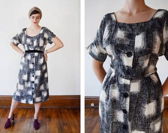 1950s Black and White Silk Patterned Shirt Dress - M/L