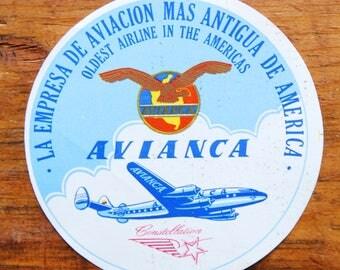 Vintage Avianca Oldest Airline in the Americas Travel Decal Gummed Sticker