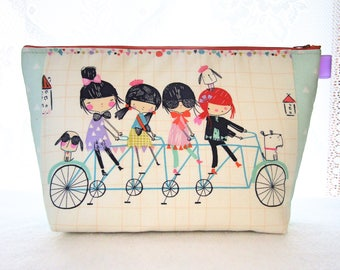 Cute Knitting Project Bag Cosmetic Bag Zipper Pouch Makeup Bag Alexander Henry Fabric Bicycle Built for 4 Hipster Girls Puppies Mint Orange