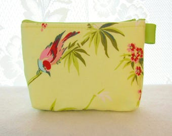 Birds and Bamboo Cosmetic Bag Amy Butler Fabric Gadget Pouch Makeup Bag Cotton Zip Pouch Temple Flowers Chartreuse Lime Green