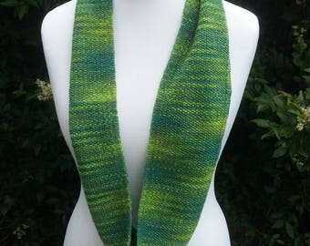 Knitted,green, infinity scarf